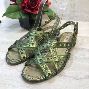 PRADA Green Strappy Sandal Size 37